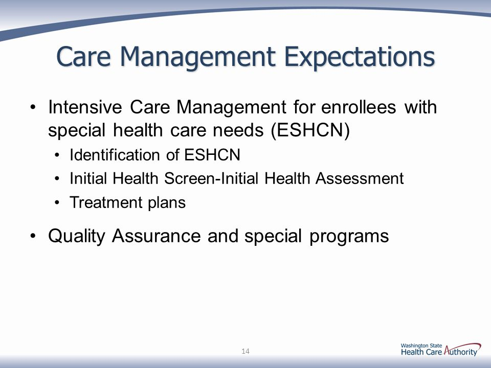 Care Management Expectations Intensive Care Management for enrollees with special health care needs (ESHCN) Identification of ESHCN Initial Health Scr