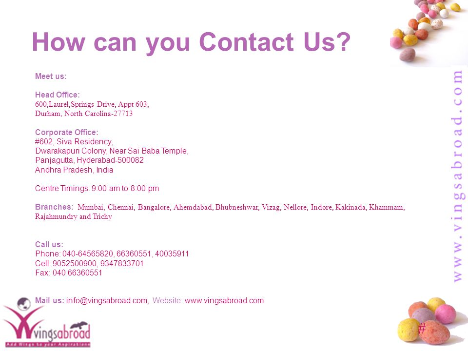 # How can you Contact Us.