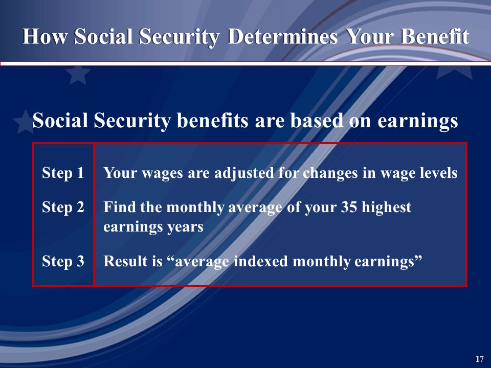 17 How Social Security Determines Your Benefit Social Security benefits are based on earnings Step 1Your wages are adjusted for changes in wage levels Step 2Find the monthly average of your 35 highest earnings years Step 3Result is average indexed monthly earnings