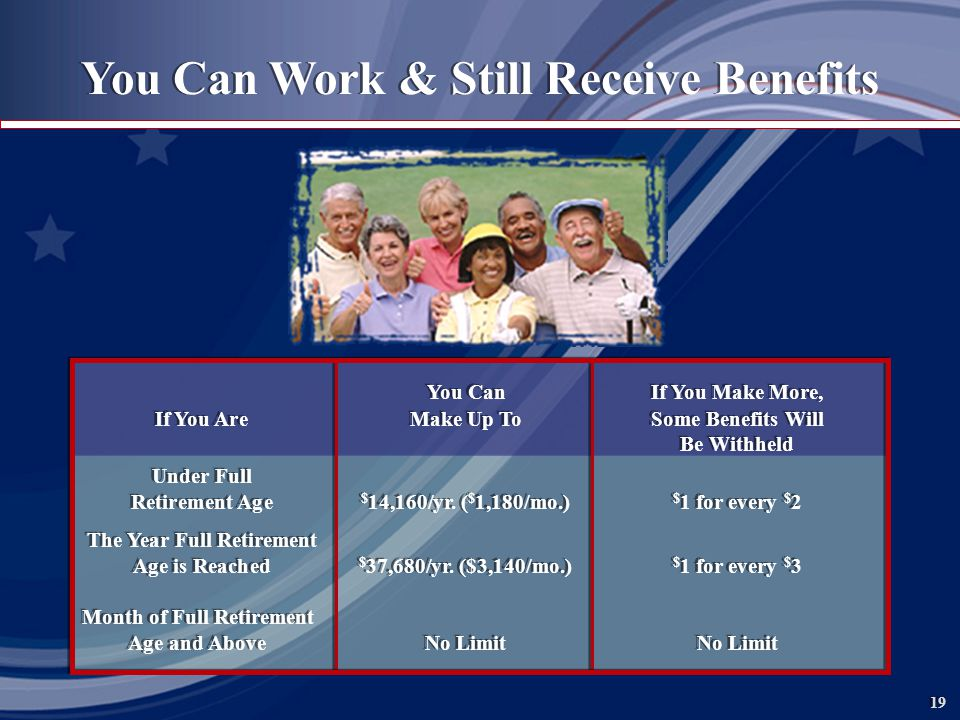 19 You Can Work & Still Receive Benefits You CanIf You Make More, If You AreMake Up ToSome Benefits Will Be Withheld Under Full Retirement Age $ 14,160/yr.