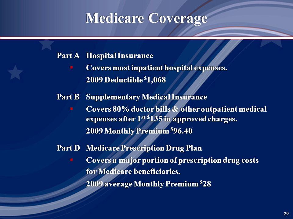 29 Medicare Coverage Part AHospital Insurance Covers most inpatient hospital expenses.