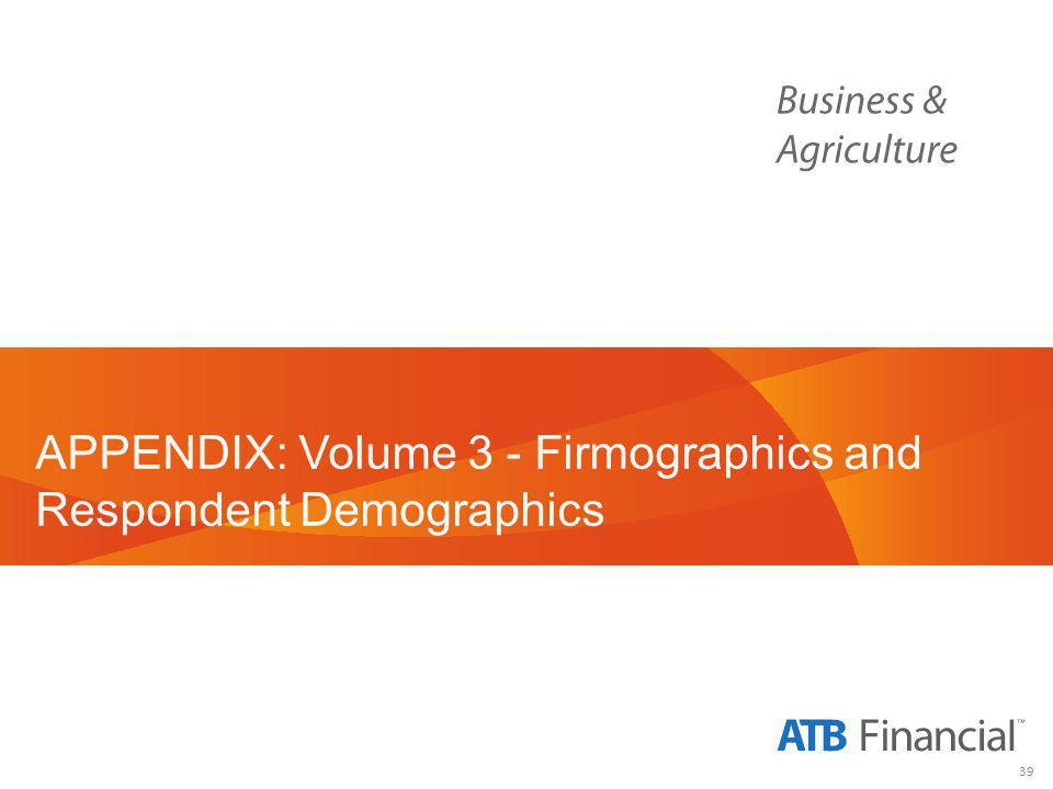 39 APPENDIX: Volume 3 - Firmographics and Respondent Demographics