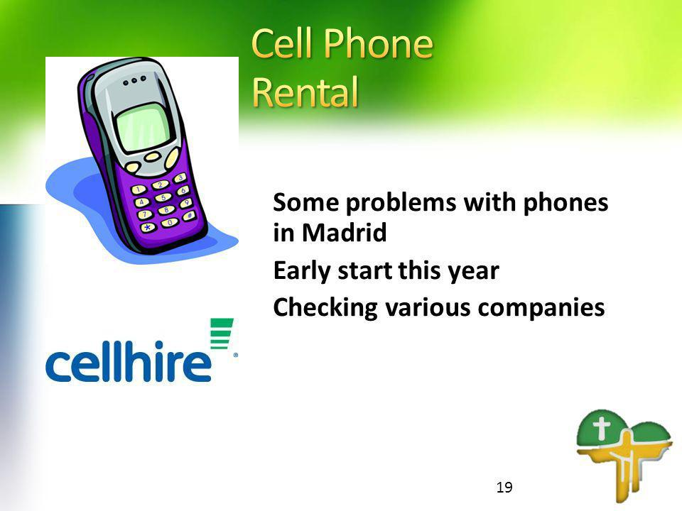 Some problems with phones in Madrid Early start this year Checking various companies 19