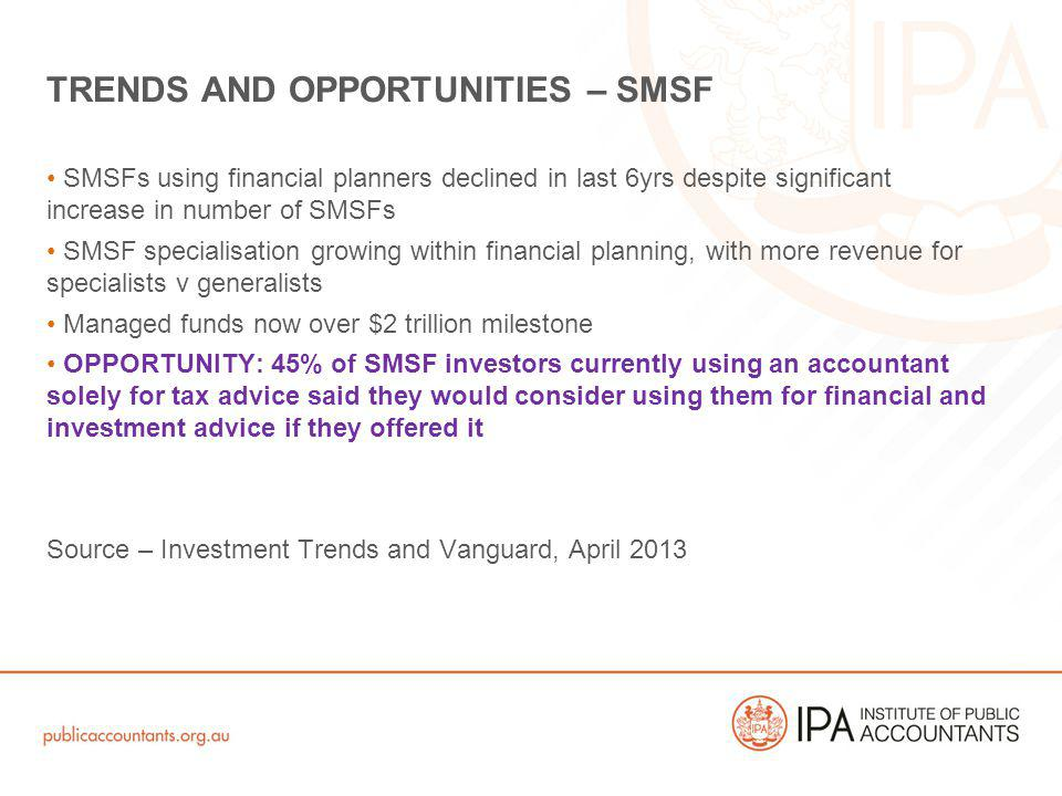 SMSFs using financial planners declined in last 6yrs despite significant increase in number of SMSFs SMSF specialisation growing within financial plan