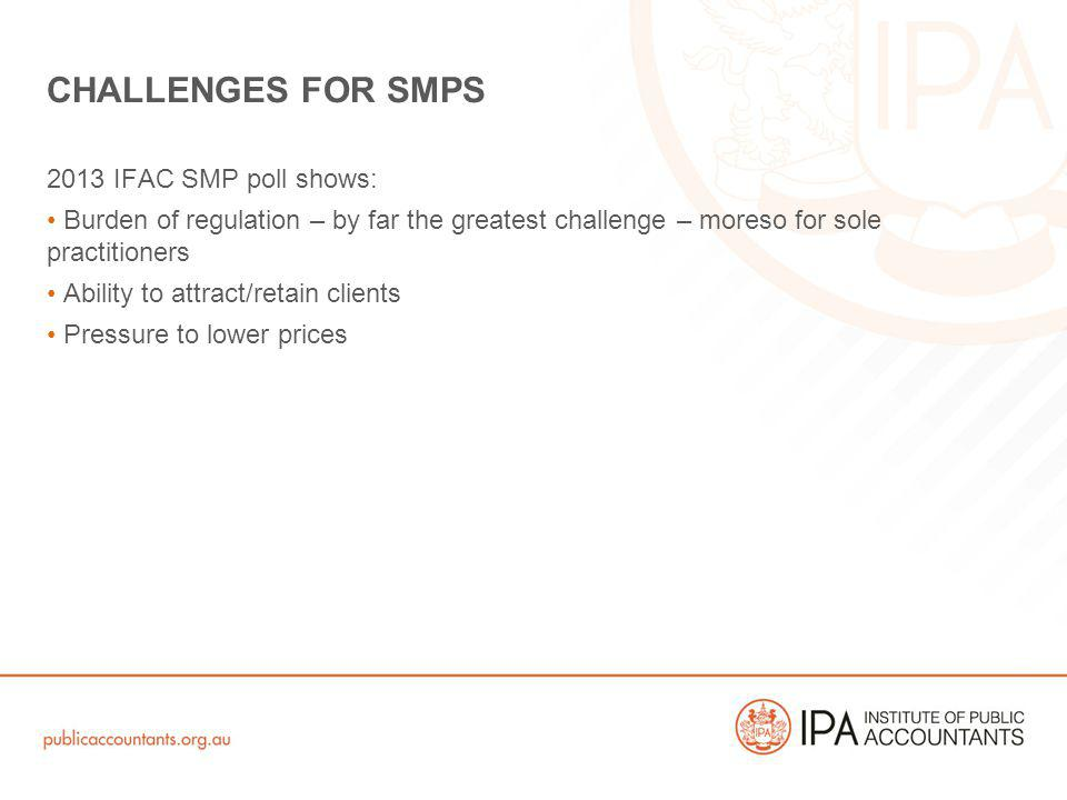 2013 IFAC SMP poll shows: Burden of regulation – by far the greatest challenge – moreso for sole practitioners Ability to attract/retain clients Press