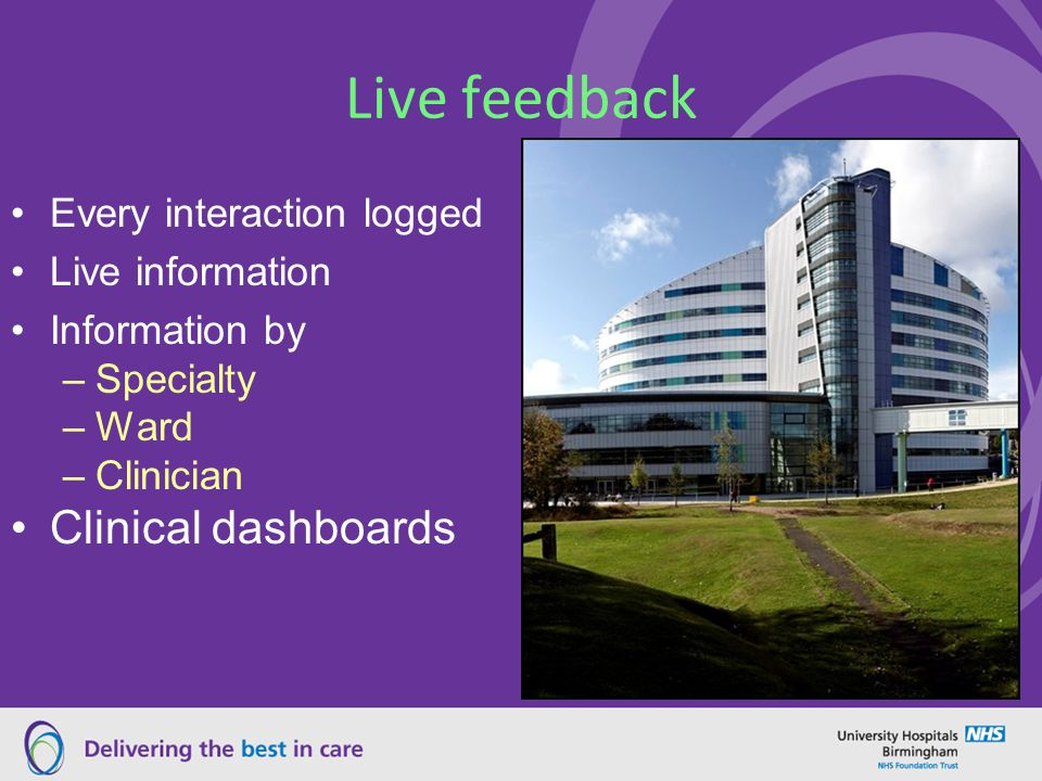 Live feedback Every interaction logged Live information Information by –Specialty –Ward –Clinician Clinical dashboards