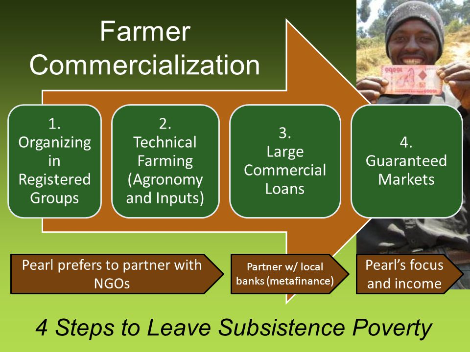 4 Steps to Leave Subsistence Poverty 1. Organizing in Registered Groups 2. Technical Farming (Agronomy and Inputs) 3. Large Commercial Loans 4. Guaran