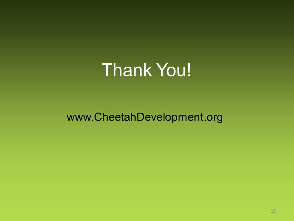 Thank You! www.CheetahDevelopment.org 23