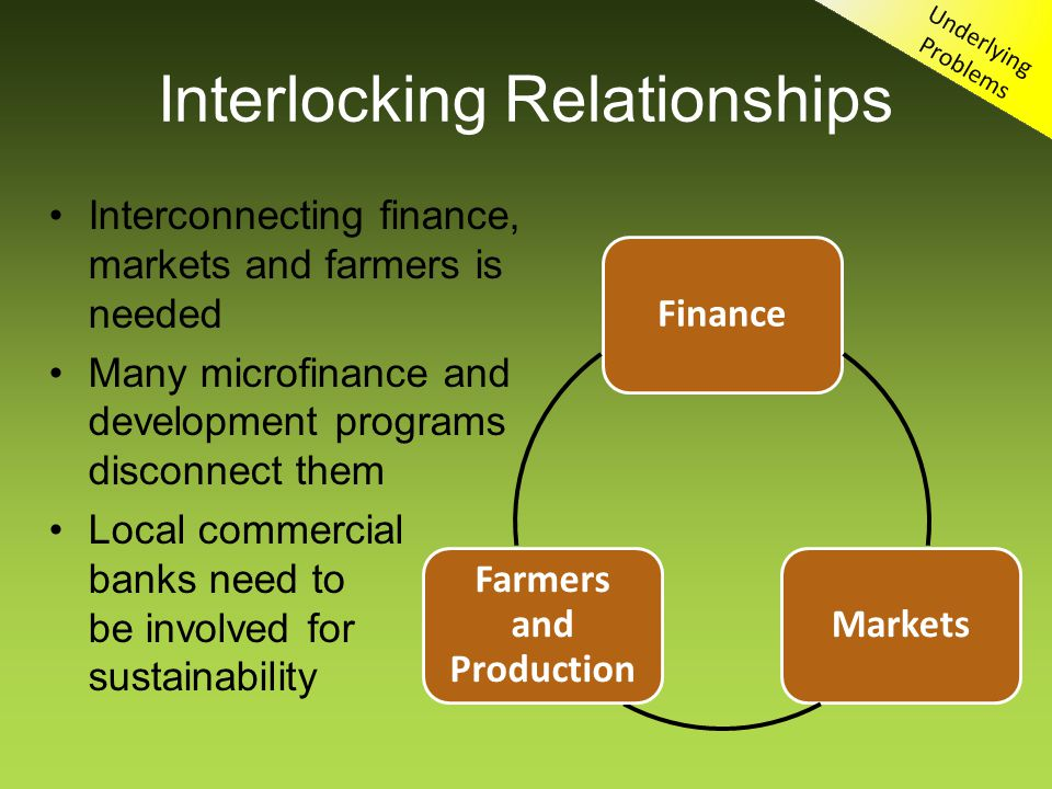 Interlocking Relationships Interconnecting finance, markets and farmers is needed Many microfinance and development programs disconnect them Local commercial banks need to be involved for sustainability FinanceMarkets Farmers and Production