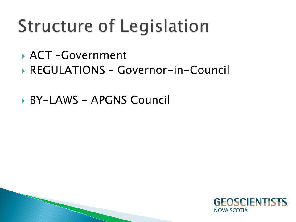ACT –Government REGULATIONS – Governor-in-Council BY-LAWS – APGNS Council