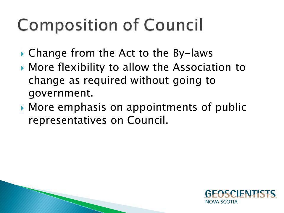 Change from the Act to the By-laws More flexibility to allow the Association to change as required without going to government. More emphasis on appoi