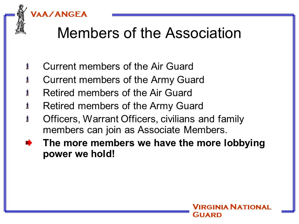 VaA/ANGEA Virginia National Guard Benefits of Membership The New Patriot Magazine by EANGUS and The Cardinal newsletter by VaA/ANGEA.