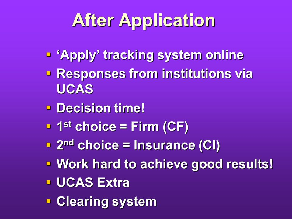 After Application Apply tracking system online Apply tracking system online Responses from institutions via UCAS Responses from institutions via UCAS Decision time.