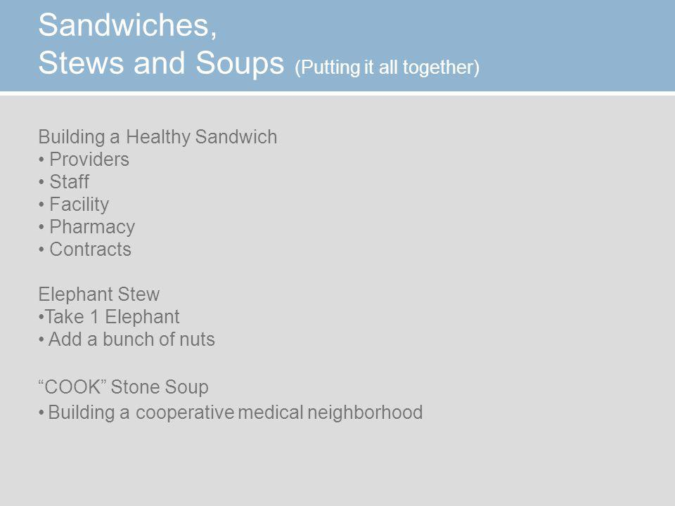 Sandwiches, Stews and Soups (Putting it all together) Building a Healthy Sandwich Providers Staff Facility Pharmacy Contracts Elephant Stew Take 1 Elephant Add a bunch of nuts COOK Stone Soup Building a cooperative medical neighborhood
