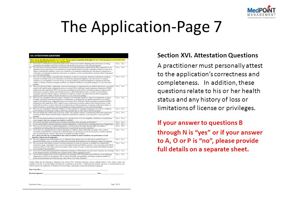 The Application-Page 7 Section XVI.