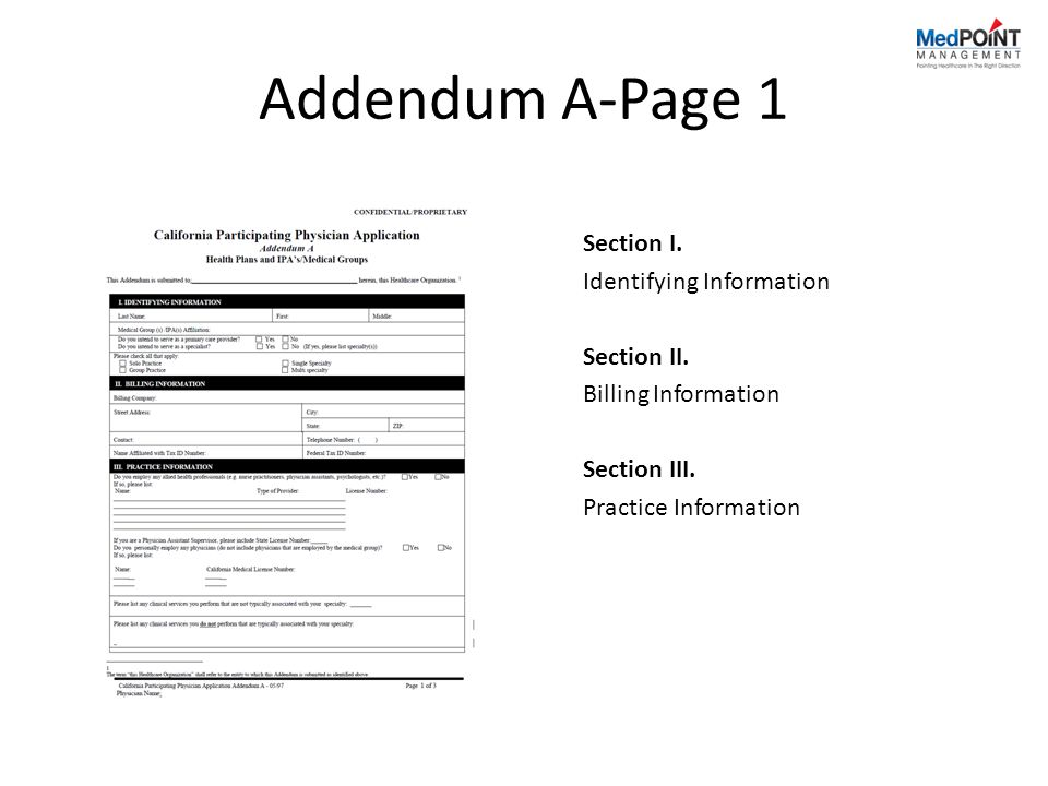 Addendum A-Page 1 Section I.Identifying Information Section II.