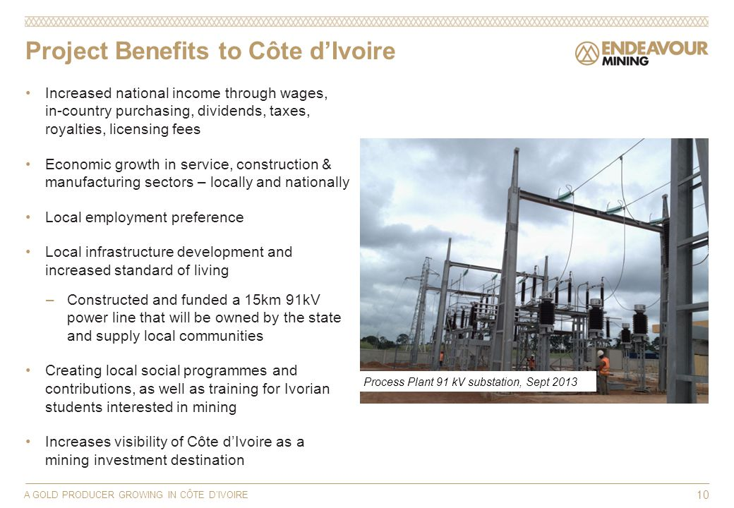 Project Benefits to Côte dIvoire Increased national income through wages, in-country purchasing, dividends, taxes, royalties, licensing fees Economic