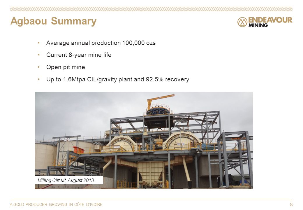 A GOLD PRODUCER GROWING IN CÔTE DIVOIRE 8 Average annual production 100,000 ozs Current 8-year mine life Open pit mine Up to 1.6Mtpa CIL/gravity plant and 92.5% recovery Agbaou Summary Milling Circuit, August 2013