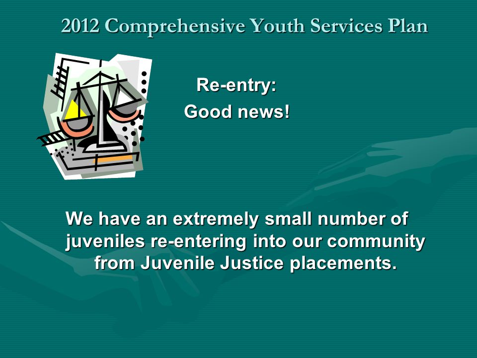 2012 Comprehensive Youth Services Plan Re-entry: Good news! We have an extremely small number of juveniles re-entering into our community from Juvenil
