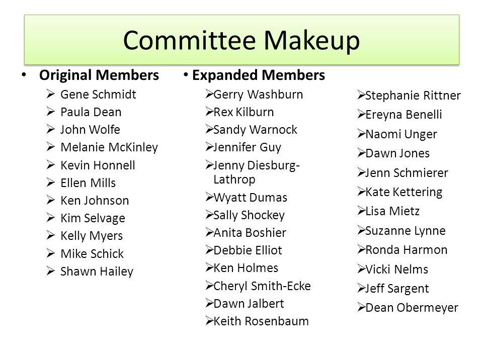 Committee Makeup Original Members Gene Schmidt Paula Dean John Wolfe Melanie McKinley Kevin Honnell Ellen Mills Ken Johnson Kim Selvage Kelly Myers Mi