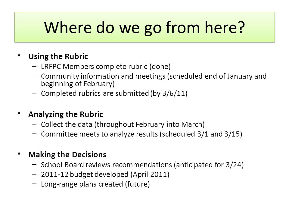 Using the Rubric – LRFPC Members complete rubric (done) – Community information and meetings (scheduled end of January and beginning of February) – Completed rubrics are submitted (by 3/6/11) Analyzing the Rubric – Collect the data (throughout February into March) – Committee meets to analyze results (scheduled 3/1 and 3/15) Making the Decisions – School Board reviews recommendations (anticipated for 3/24) – 2011-12 budget developed (April 2011) – Long-range plans created (future) Where do we go from here