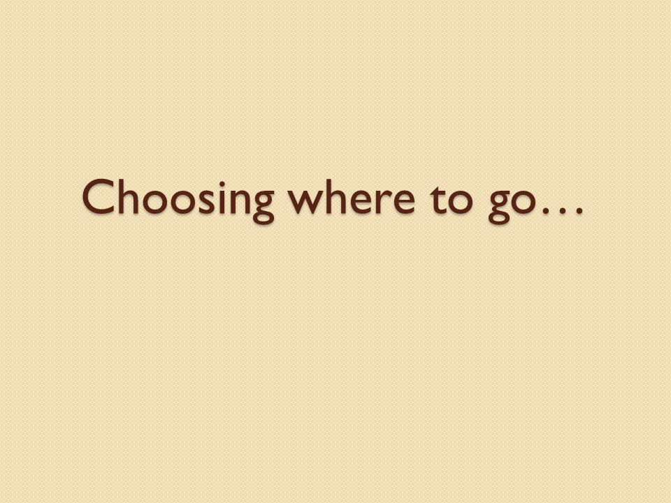 Choosing where to go…