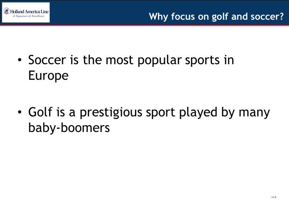 Soccer is the most popular sports in Europe Golf is a prestigious sport played by many baby-boomers Why focus on golf and soccer.