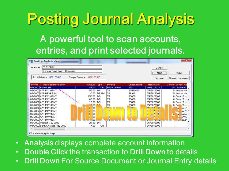Analysis displays complete account information. Double Click the transaction to Drill Down to details Drill Down For Source Document or Journal Entry