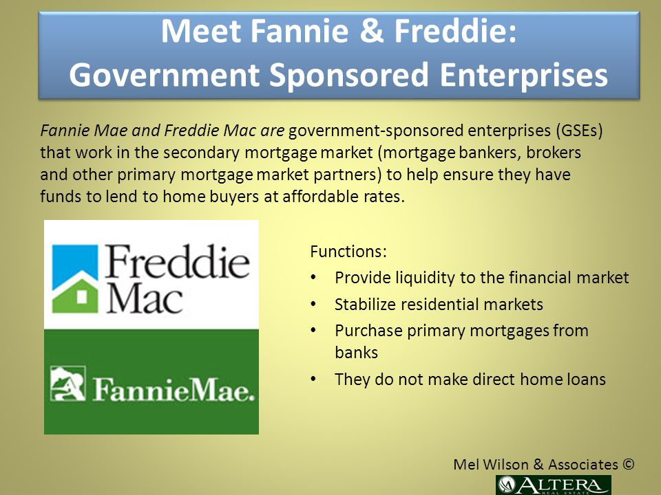 Functions: Provide liquidity to the financial market Stabilize residential markets Purchase primary mortgages from banks They do not make direct home loans Fannie Mae and Freddie Mac are government-sponsored enterprises (GSEs) that work in the secondary mortgage market (mortgage bankers, brokers and other primary mortgage market partners) to help ensure they have funds to lend to home buyers at affordable rates.