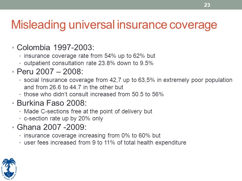 23 Misleading universal insurance coverage Colombia 1997-2003: insurance coverage rate from 54% up to 62% but outpatient consultation rate 23.8% down