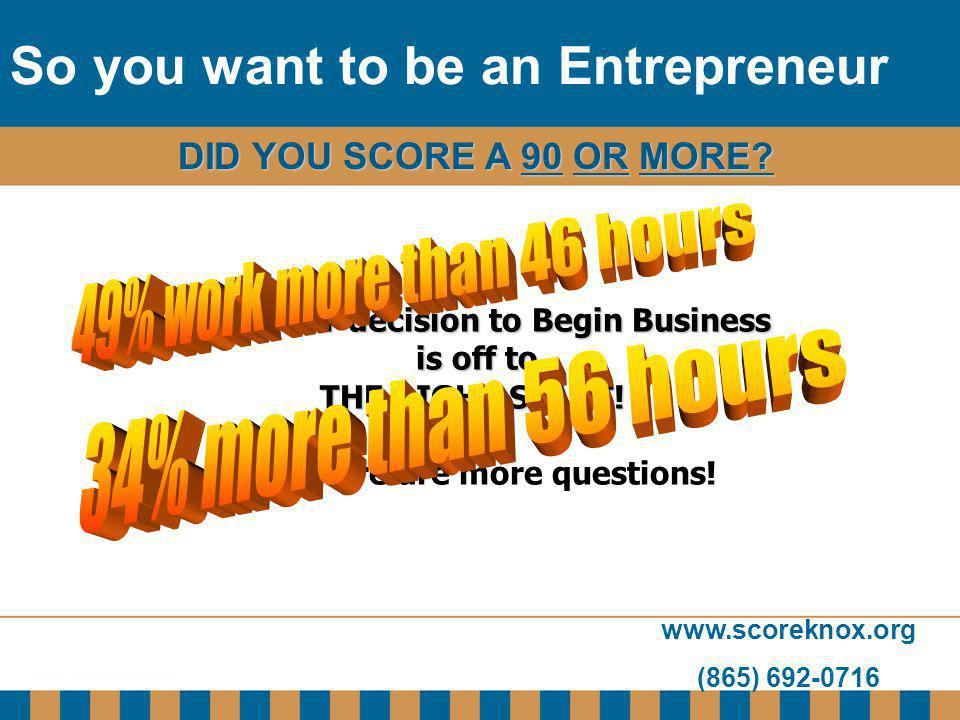 www.scoreknox.org (865) 692-0716 DID YOU SCORE A 90 OR MORE? If so, your decision to Begin Business is off to is off to THE RIGHT START! But, there ar