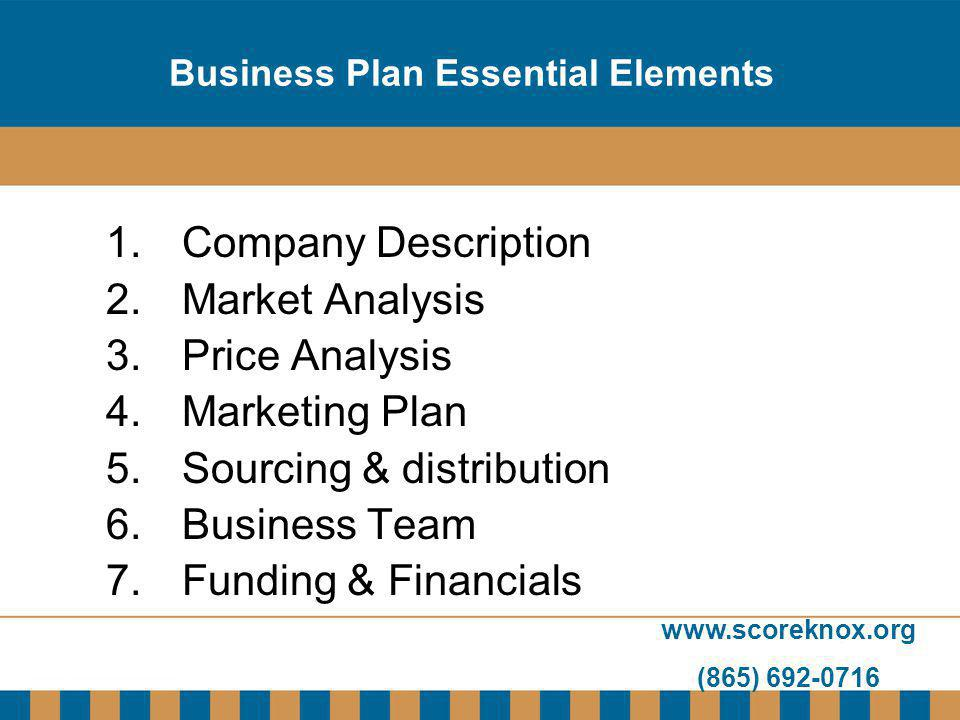www.scoreknox.org (865) 692-0716 Business Plan Essential Elements 1.