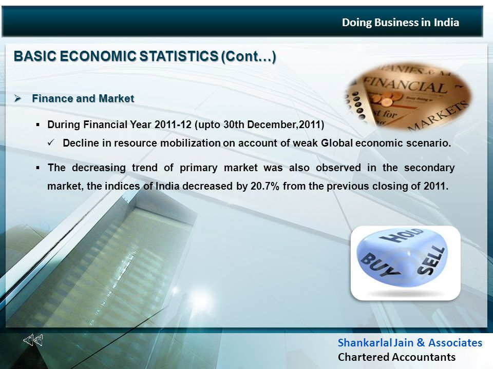 BASIC ECONOMIC STATISTICS (Cont…) Finance and Market Finance and Market During Financial Year 2011-12 (upto 30th December,2011) Decline in resource mobilization on account of weak Global economic scenario.