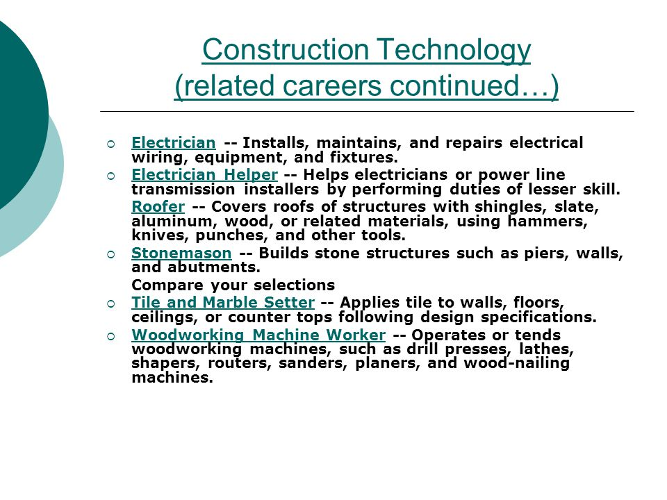 Construction Technology (related careers continued…) Electrician -- Installs, maintains, and repairs electrical wiring, equipment, and fixtures. Elect