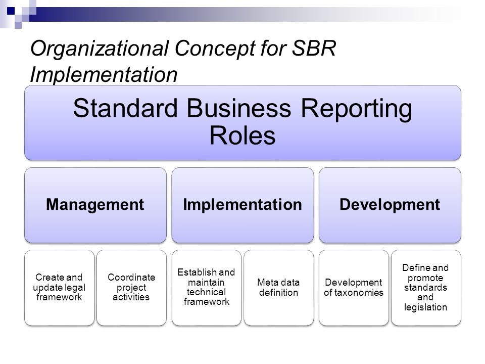 Organizational Concept for SBR Implementation Standard Business Reporting Roles Management Create and update legal framework Coordinate project activi