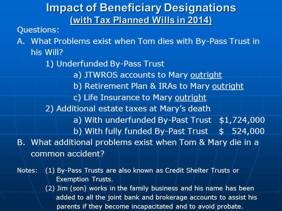 Impact of Beneficiary Designations (with Tax Planned Wills in 2014) Questions: A.