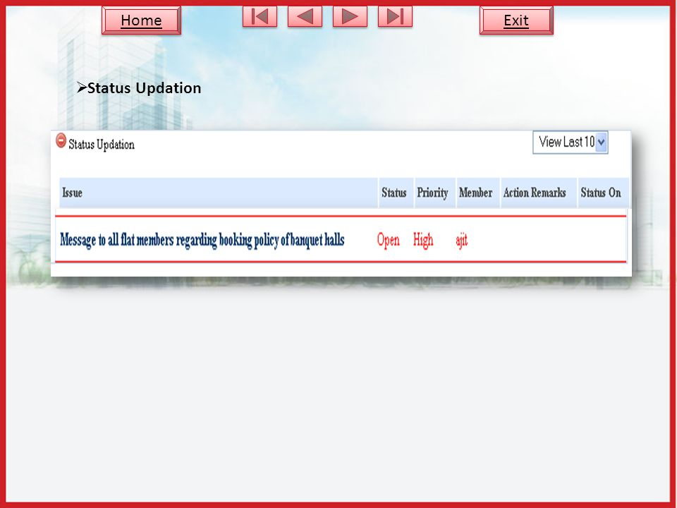 Status Updation Exit Home