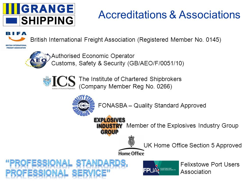 Accreditations & Associations The Institute of Chartered Shipbrokers (Company Member Reg No.