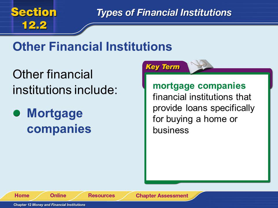Other Financial Institutions Other financial institutions include: mortgage companies financial institutions that provide loans specifically for buyin