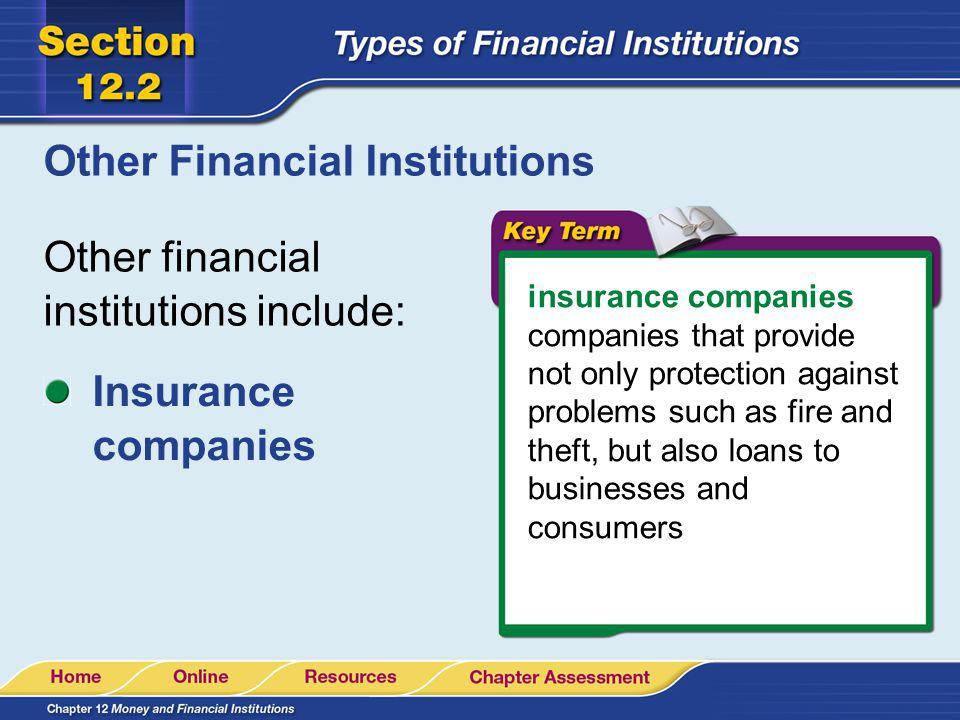 Other Financial Institutions Other financial institutions include: insurance companies companies that provide not only protection against problems suc