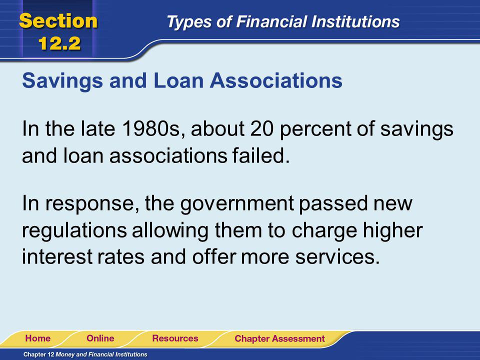 Savings and Loan Associations In the late 1980s, about 20 percent of savings and loan associations failed. In response, the government passed new regu