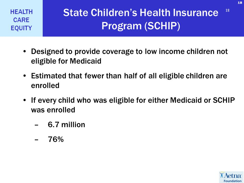 18 HEALTH CARE EQUITY 18 State Childrens Health Insurance Program (SCHIP) Designed to provide coverage to low income children not eligible for Medicai