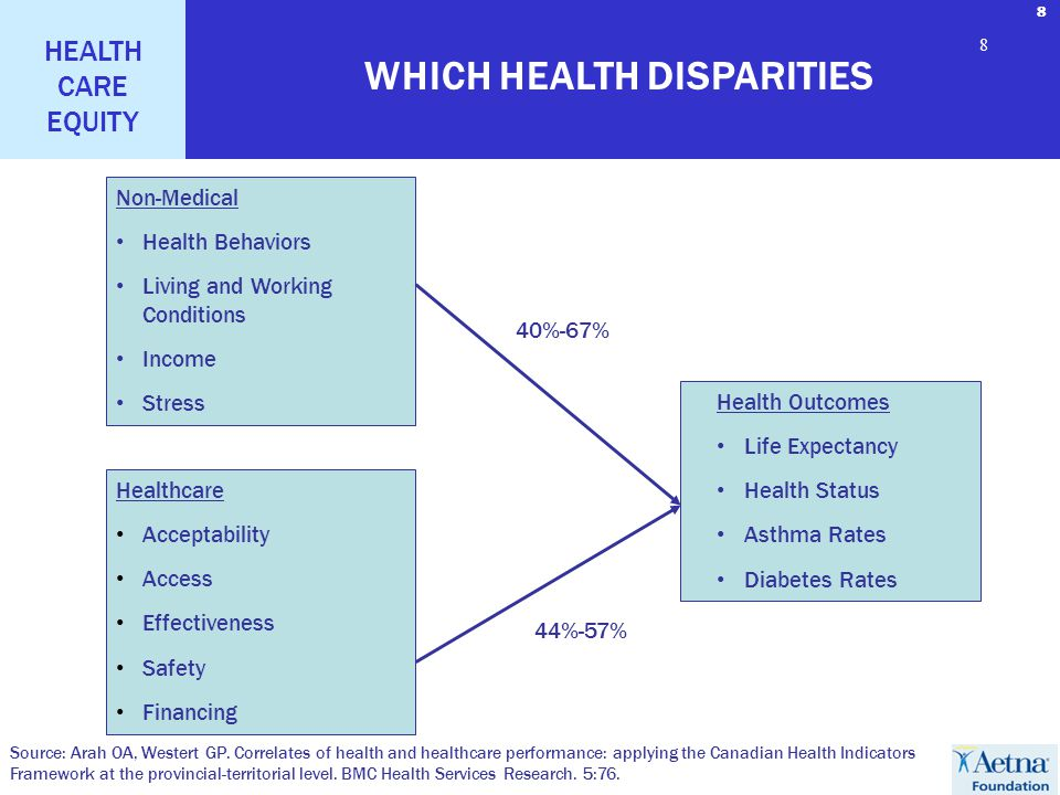 8 HEALTH CARE EQUITY 8 8 Health Outcomes Life Expectancy Health Status Asthma Rates Diabetes Rates Non-Medical Health Behaviors Living and Working Conditions Income Stress Healthcare Acceptability Access Effectiveness Safety Financing WHICH HEALTH DISPARITIES Source: Arah OA, Westert GP.