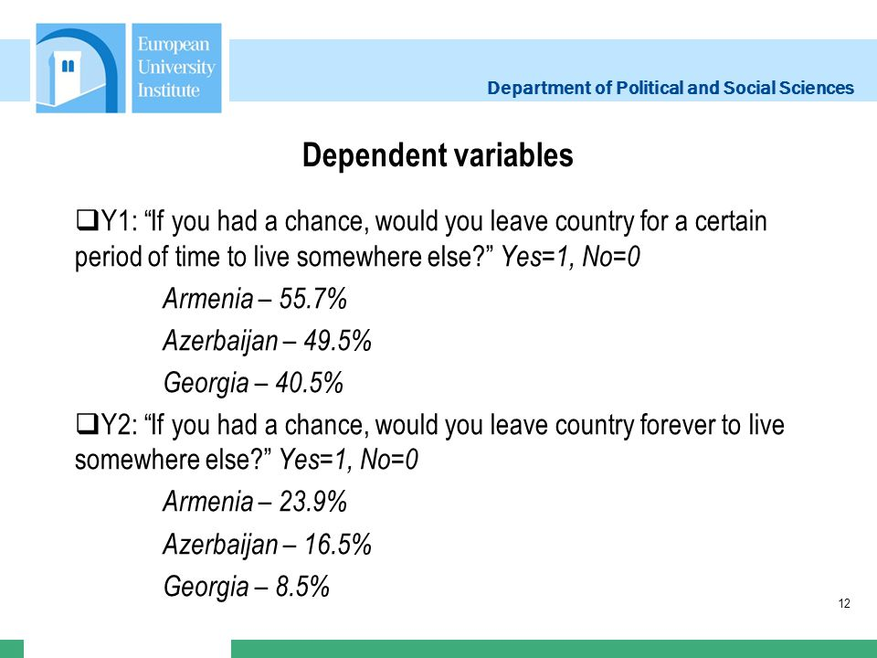 Department of Political and Social Sciences Dependent variables Y1: If you had a chance, would you leave country for a certain period of time to live