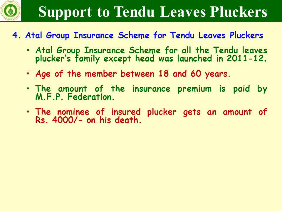 4. Atal Group Insurance Scheme for Tendu Leaves Pluckers Atal Group Insurance Scheme for all the Tendu leaves pluckers family except head was launched