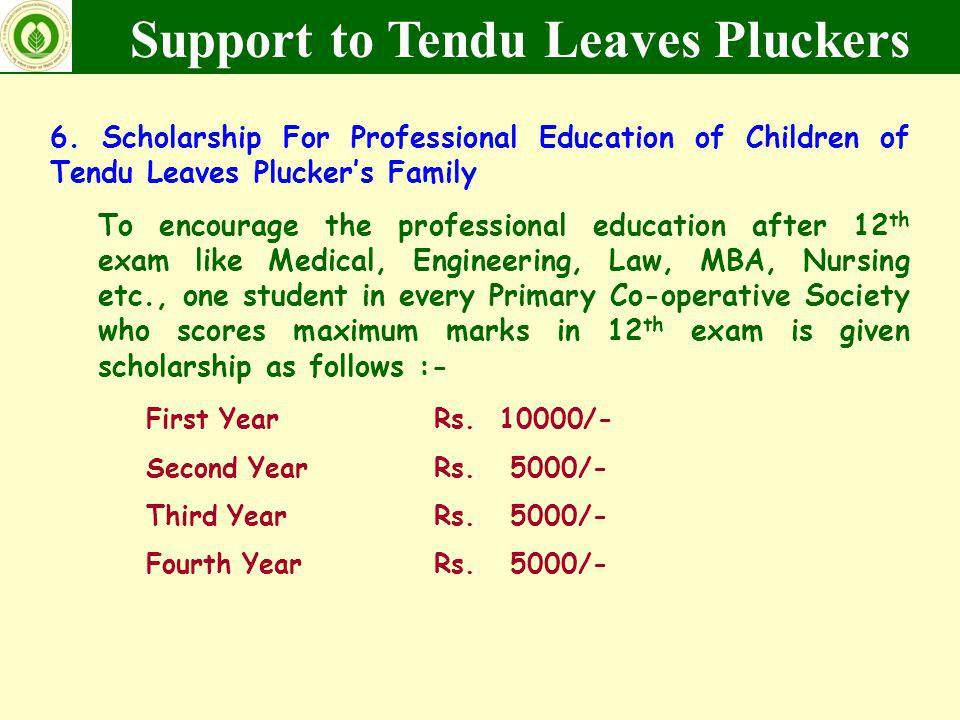 6. Scholarship For Professional Education of Children of Tendu Leaves Pluckers Family To encourage the professional education after 12 th exam like Me