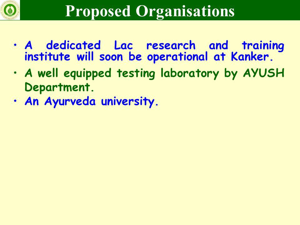 A dedicated Lac research and training institute will soon be operational at Kanker. A well equipped testing laboratory by AYUSH Department. An Ayurved