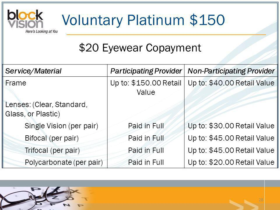 Voluntary Platinum $150 Service/MaterialParticipating ProviderNon-Participating Provider FrameUp to: $150.00 Retail Value Up to: $40.00 Retail Value L