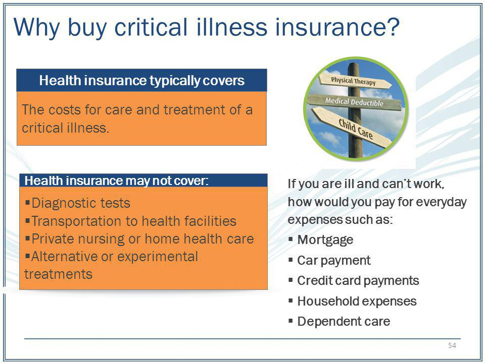 Why buy critical illness insurance? If you are ill and cant work, how would you pay for everyday expenses such as: Mortgage Car payment Credit card pa