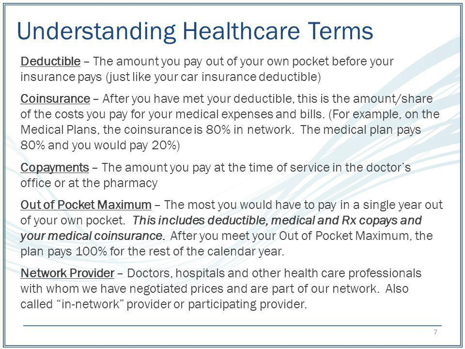 Understanding Healthcare Terms Deductible – The amount you pay out of your own pocket before your insurance pays (just like your car insurance deducti
